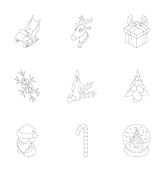 December holiday icons set outline style vector