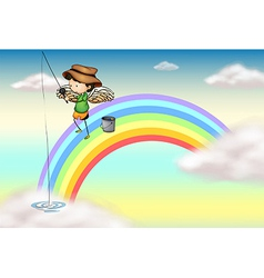 An angel fishing above the rainbow vector image