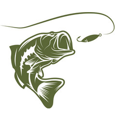 largemouth bass and lure design template vector image