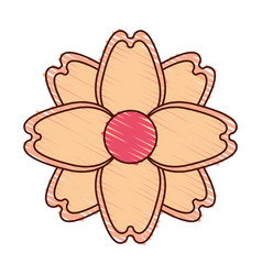Beautiful flower decorative icon vector
