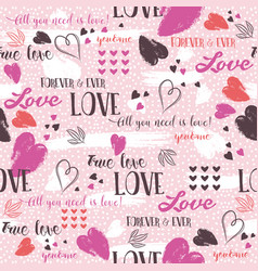 Pink background with red valentine heart and vector