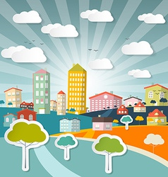 Abstract city in retro style vector