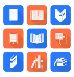 White color flat style books icons set vector