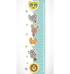 Children height meter wall sticker set of funny vector