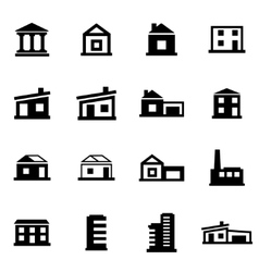 Black buildings icon set vector