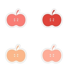 Assembly realistic sticker design on paper apples vector