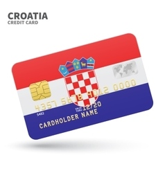 Credit card with croatia flag background for bank vector