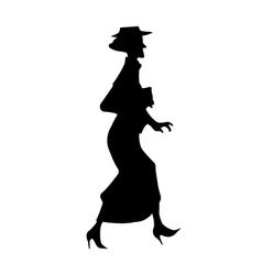 Elderly lady silhouette vector