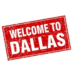 Dallas red square grunge welcome to stamp vector
