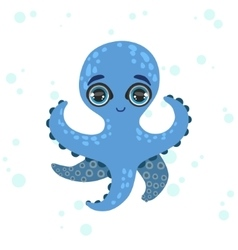 Blue octopus drawing vector