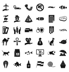 Cat life icons set simple style vector