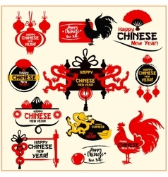 Chinese New Year badge label and stamp set vector image vector image