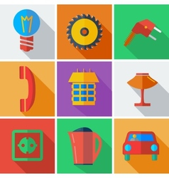 Collection modern flat icons Home Appliances with vector image