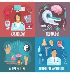 Conventional and alternative medicine flat icons vector image vector image