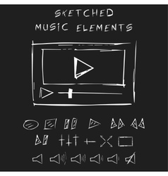 Doodle music elements set sketch design vector