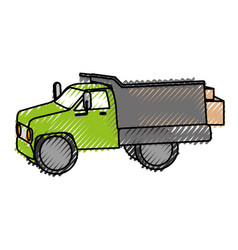 Drump truck with boxes isolated icon vector
