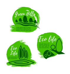Eco green life icon set for ecology design vector
