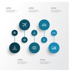 Exploration outline icons set collection of plane vector