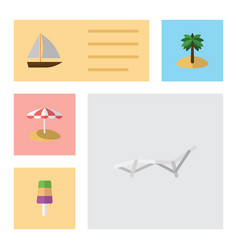 Flat beach set of yacht sundae coconut and other vector