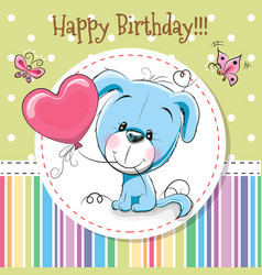 Greeting card cute cartoon puppy vector