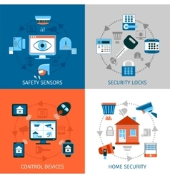 Home Safety Concept Icons Set vector image