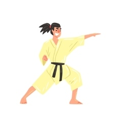 Karate Professional Fighter In Kimono Kicking With vector image
