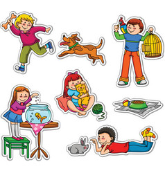 kids and pets vector image