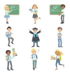 Kids happy to be in school vector