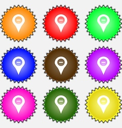 Minus map pointer gps location icon sign a set of vector