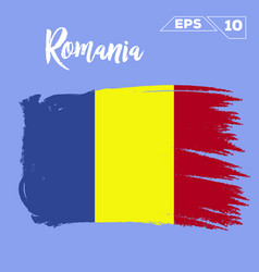 Romania flag brush strokes painted vector