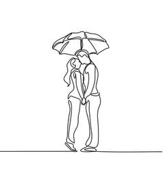 romantic young couple kissing under umbrella vector image vector image