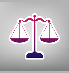 Scales balance sign purple gradient icon vector