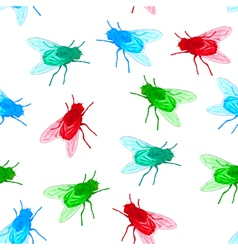 Seamless background with flies unreal colors vector image vector image