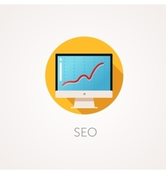 Seo result icon flat design style with long vector