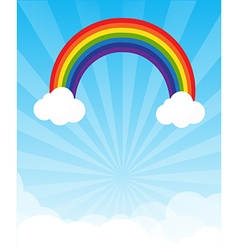 Sunburst and blue sky and rainbow background with vector
