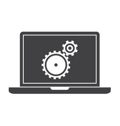 testing software laptop silhouette vector image vector image