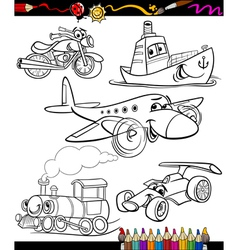 Transport set for coloring book vector