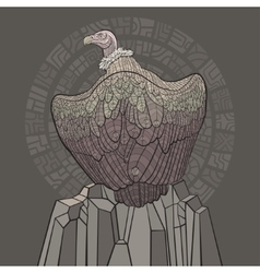 Vulture sitting on a rock vector