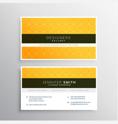 Yellow minimal elegant business card template vector