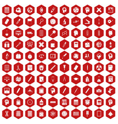 100 learning icons hexagon red vector