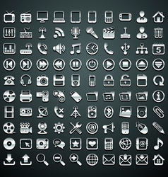 100 metallic icons vector