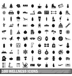100 wellness icons set simple style vector