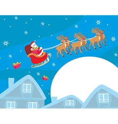 The santa claus flying with the sack full of vector image