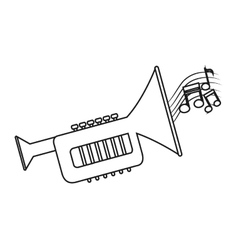 Isolated music note and trumpet design vector image