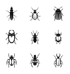 Species of beetles icons set simple style vector