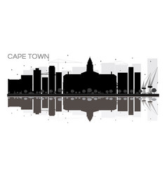 Cape town city skyline black and white silhouette vector