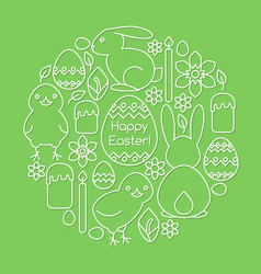 card template with easter symbols line art vector image