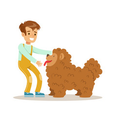 Cute happy boy petting his furry dog colorful vector