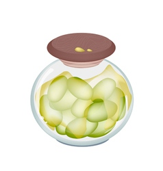 Green Olives in A jar on White Background vector image