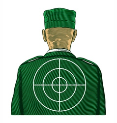 Soldier with target from back or rear view vector image